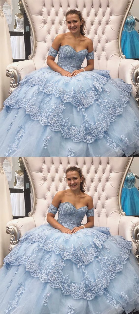 Tulle Quinceanera Dress with Appliques and Beading