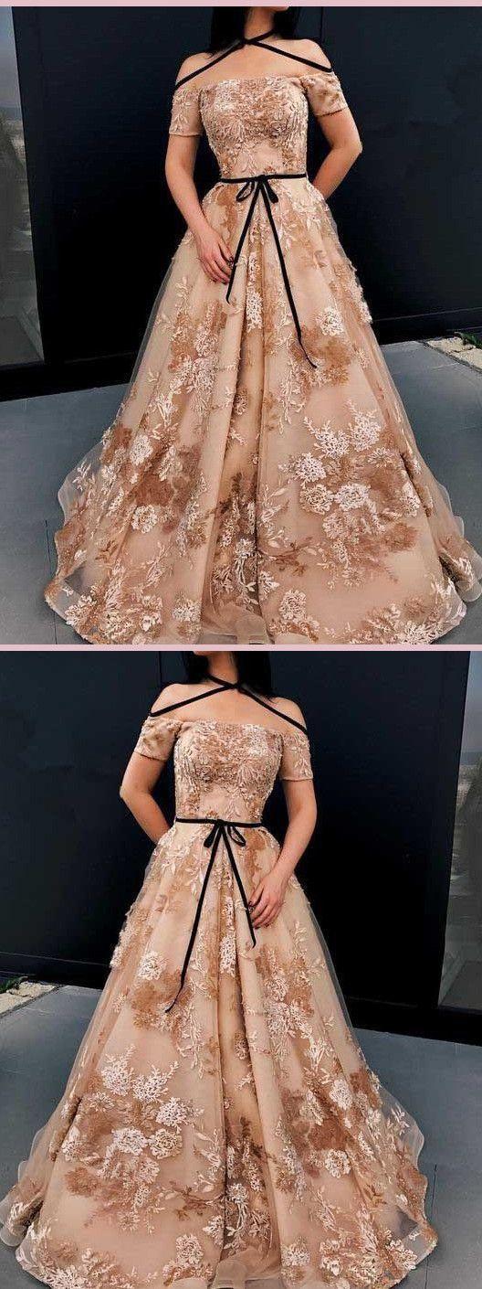 A-LINE OFF-THE-SHOULDER PROM DRESSES APPLIQUE LACE LONG PROM DRESS EVENING DRESS