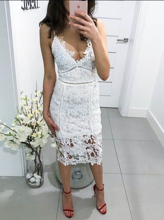 Sheath Spaghetti Straps Tea-Length White Lace Homecoming Prom Dress