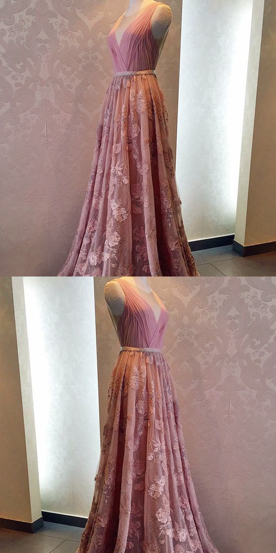 Round Neck Beaded Long Pink Prom Dresses, Elegant Long Prom Party Dresses