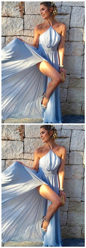 A-Line Halter Floor-Length Light Blue Chiffon Prom Dress with Split