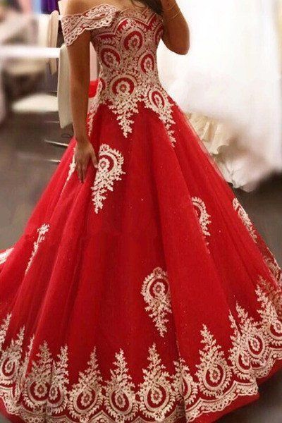 Red organza lace applique off-shoulder short sleeves A-line long prom