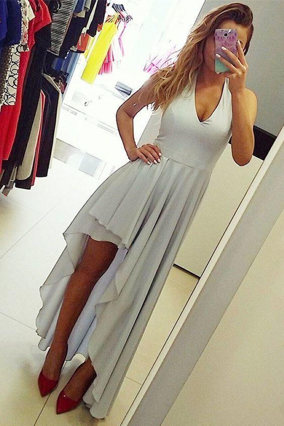 A-Line Deep V-Neck Asymmetry Grey Homecoming Dress