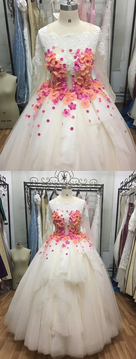 White Tulle V Neck Long Layered Quinceanera Dress, Formal Prom Dress