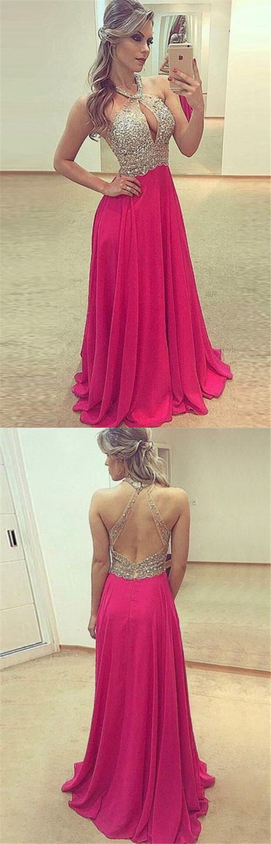 A-Line Jewel Keyhole Beading Fuchsia Chiffon Prom Dress with Open Back
