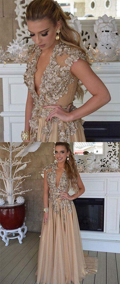 V Neck Chiffon Applique Long Prom Dress