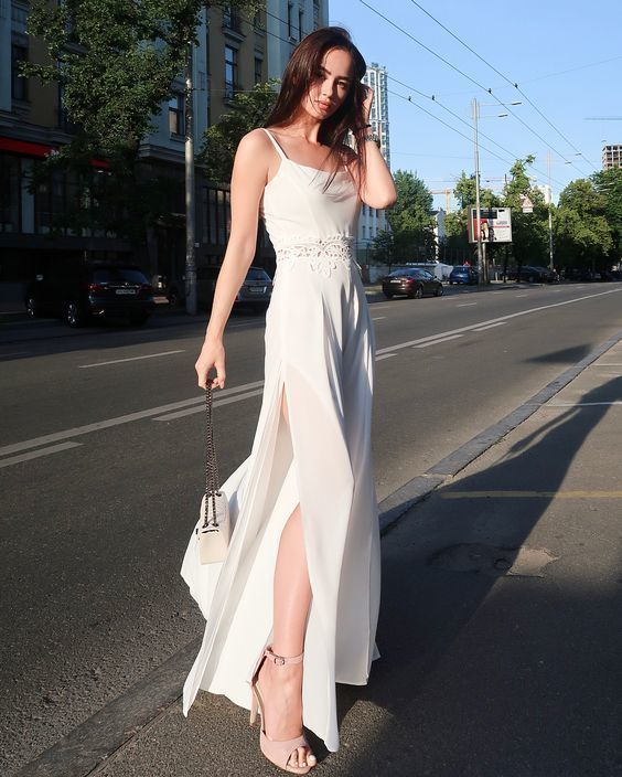 Sheath Spaghetti Straps Floor Length White Chiffon Prom Party Dress with
