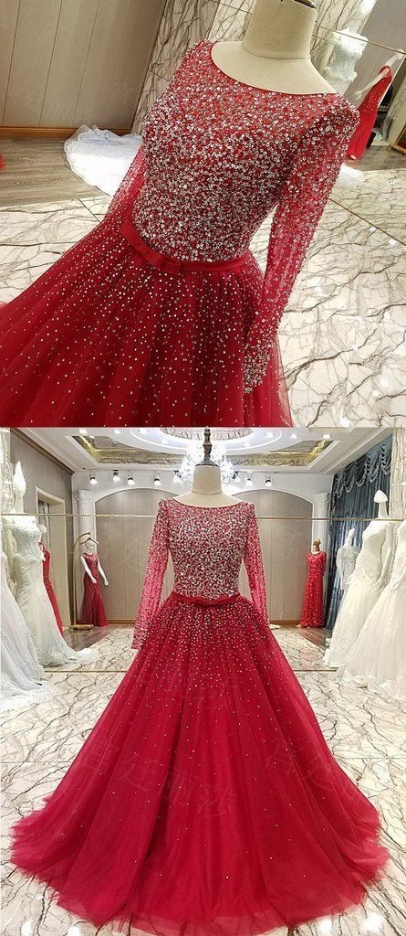 Red Tulle Long Sleeve Beaded Arabic Style Formal Prom Dress