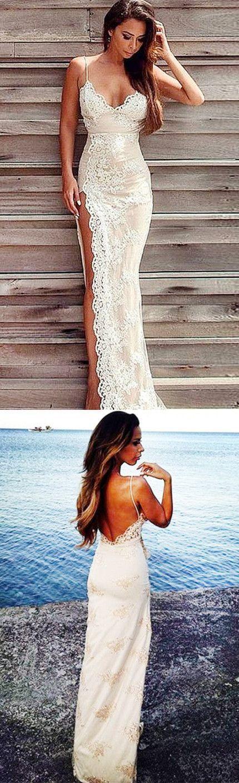 Sheath Lace Backless Ivory Spaghetti Straps Sweep Train Split Prom Dress