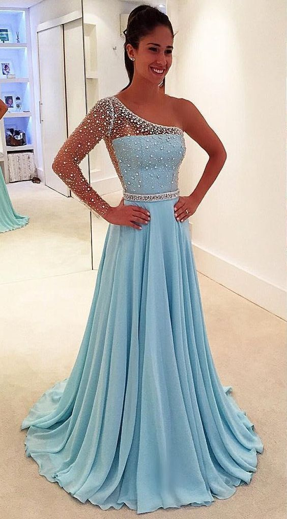 Charming A Line One Shoulder Light Blue Long Sleeves Long Prom Dresses with