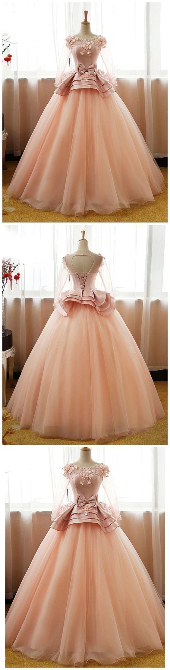 Long Sleeve Applique Beaded Prom Dresses