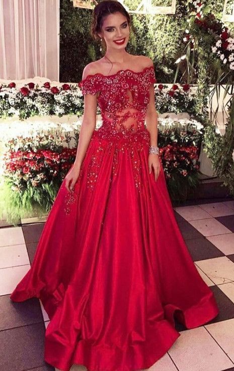 A-Line Off-the-Shoulder Sweep Train Red Satin Prom Dress with Beading Lace
