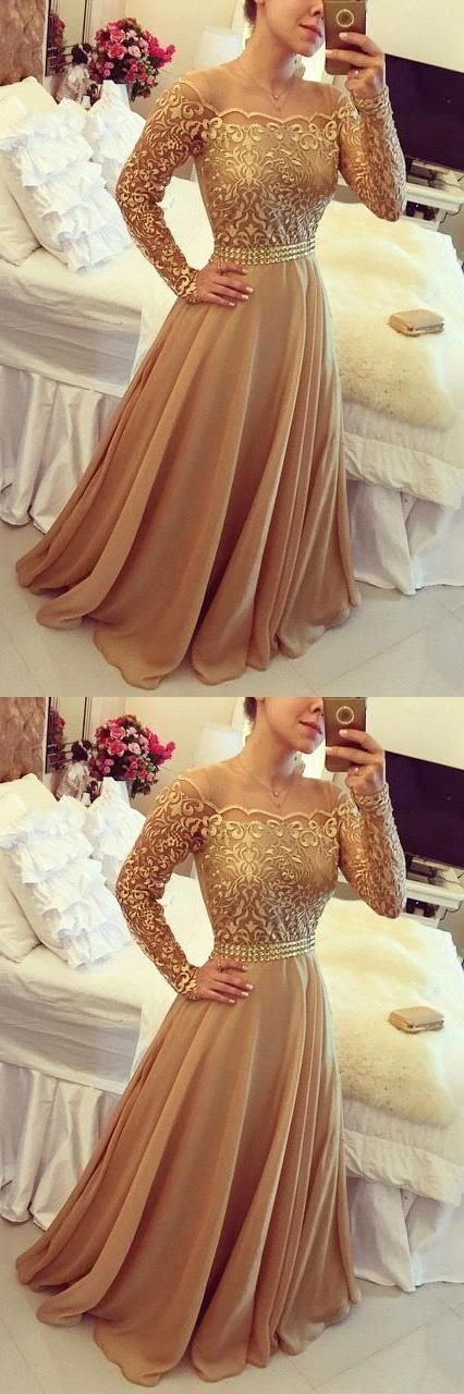 Long Sleeve Chiffon Party Prom Dresses For Women