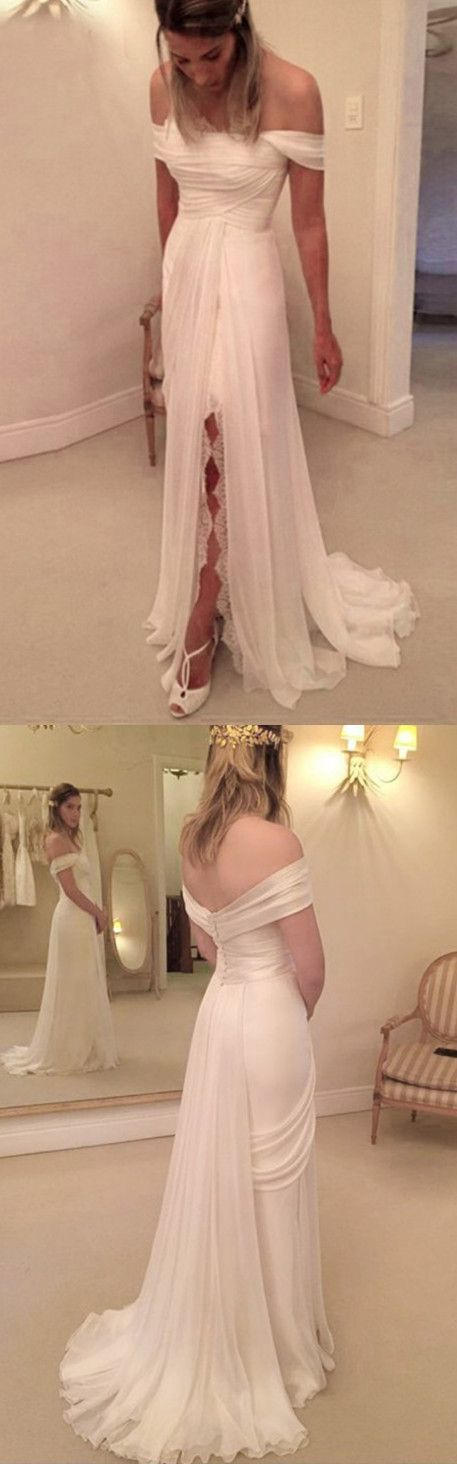 A-Line Off the Shoulder Split Pleats Ivory Chiffon Prom Dress with Watteau Train