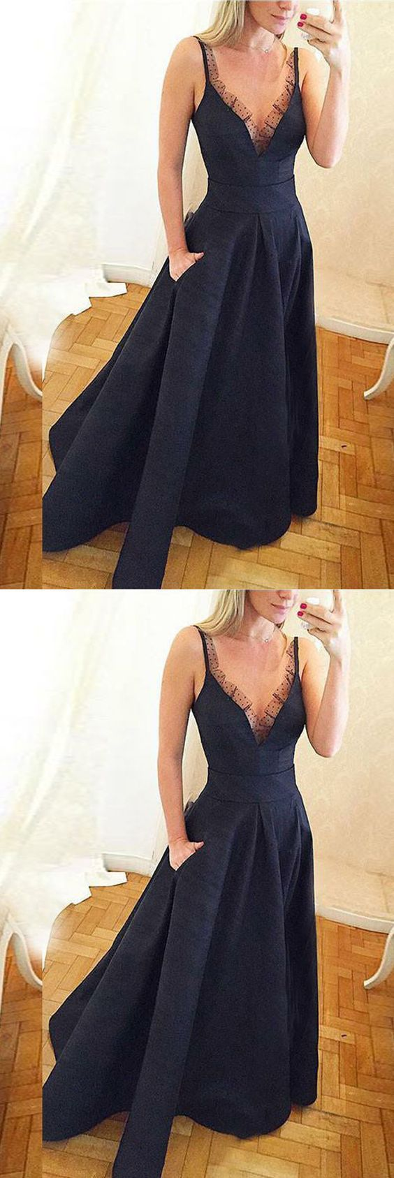 Gorgeous A Line V Neck Open Back Satin Navy Long Prom Dresses with Lace, Elegant
