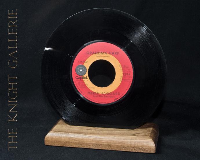 Classic 45 record and display pedestal: Merle Haggard (Grandma Harp)