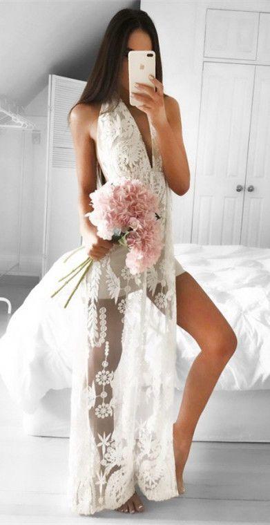A-Line Halter Floor- Length White Backless Appliques Split Prom Dress