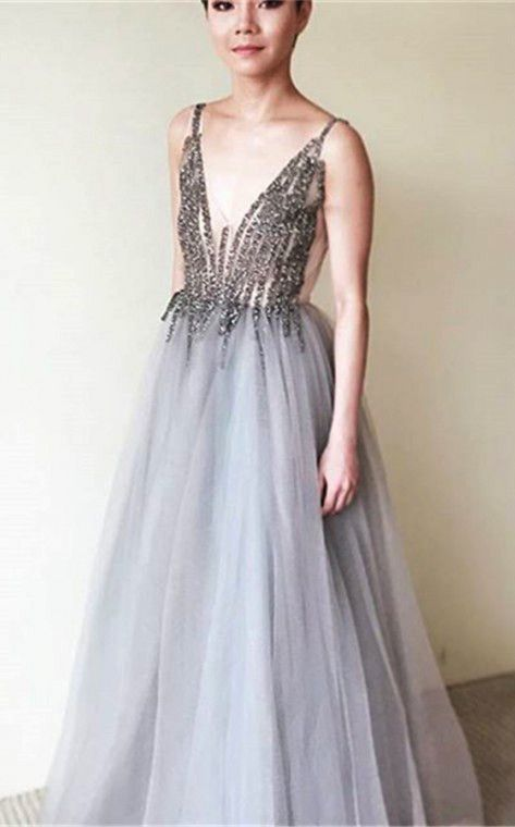 A-Line V-Neck Floor-Length Grey Tulle Sleeveless Prom Dress with Beading