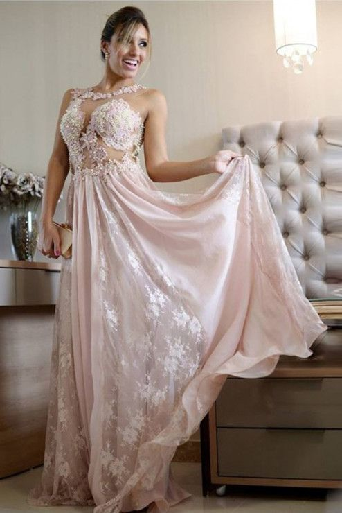 Illusion Jewel Sleeveless Long Pearl Pink Prom Dress with Lace Pearls