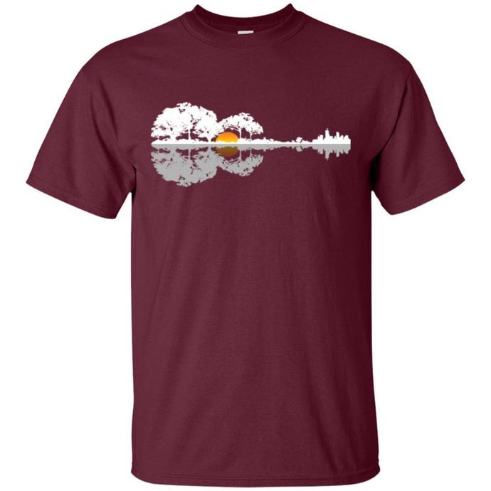 Acoustic Guitar Lake Music, Musician Men T-shirt, Acoustic Guitar Lake Music