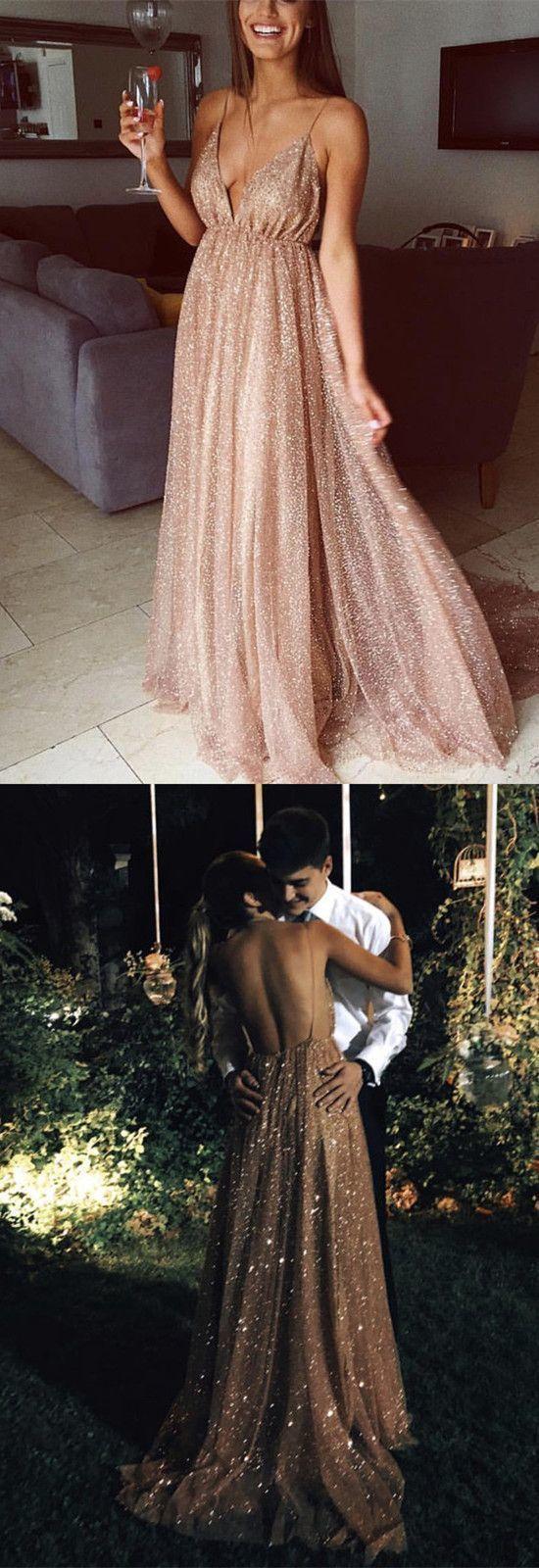 dce679b7d08c Long Sequins Evening Dresses Plunge V-neck Prom   Hiprom