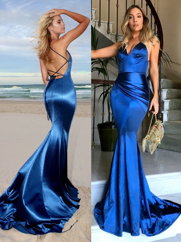 Mermaid Prom Dresses Spaghetti Straps Brush Train Long Royal Blue Sexy Prom