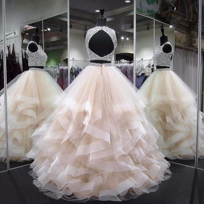 Two Piece Prom Dresses Bateau Ball Gown Floor-length Long Sexy Prom Dress