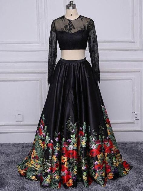 229661ecc2c8 Two Piece Prom Dresses Short Train Long Black Floral Print Prom Dress Sexy