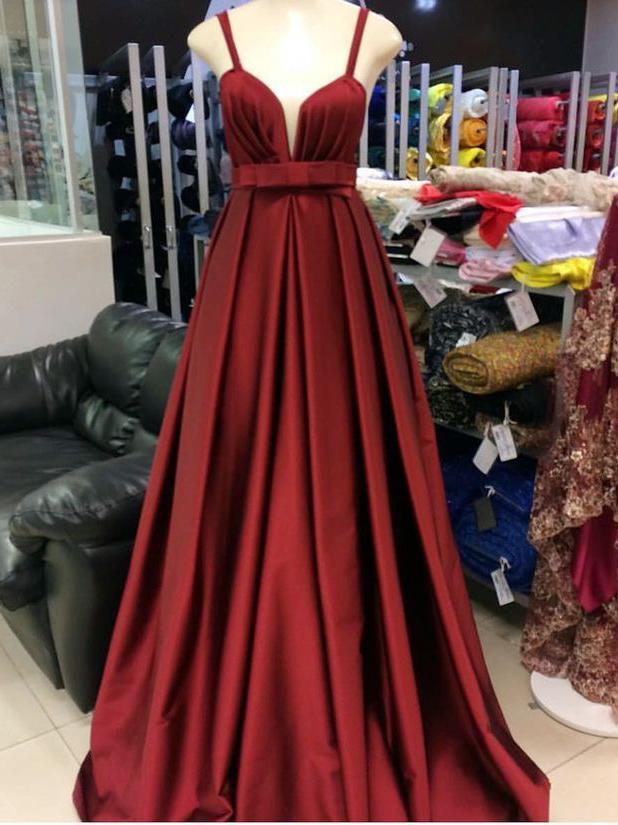 Simple Prom Dresses Straps A-line Long Burgundy Cheap Prom Dress