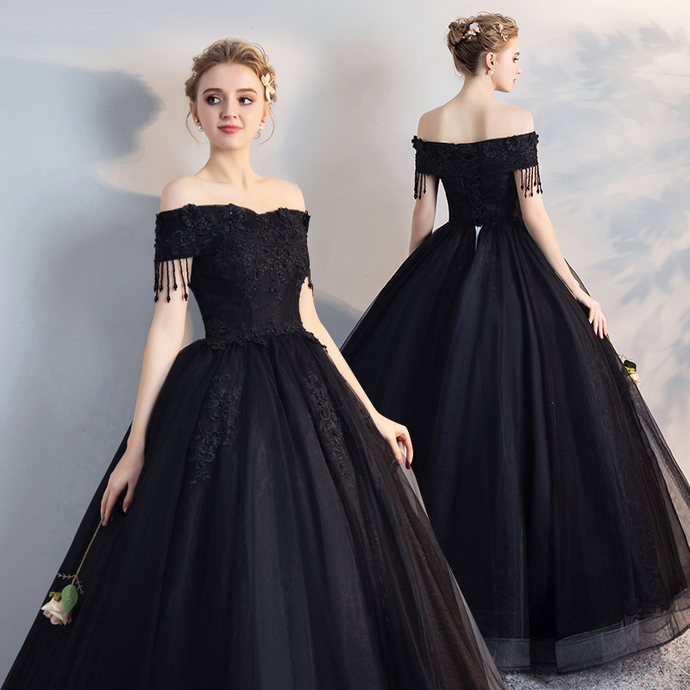 Off the Shoulder Black Ball Gown Prom Dress