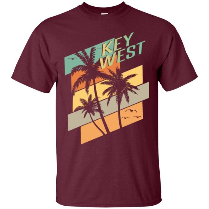 Retro Key West Florida Palms Seagulls Men T-shirt, Key West T-shirt, Key West