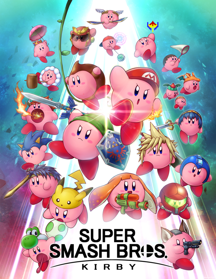 """Super Smash Bros Kirby Polyester Fabric Poster (13""""x19"""" or 18""""x28"""")"""