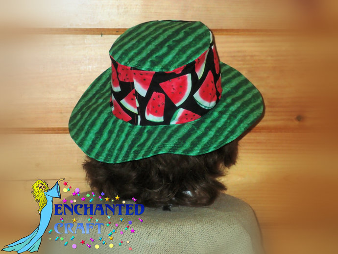 Travel Sun Hat- lays flat in a suitcase or tote in fun watermelon print HANDMADE