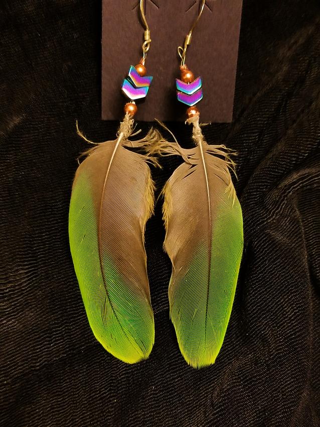 Green Amazon and Hematite Earrings