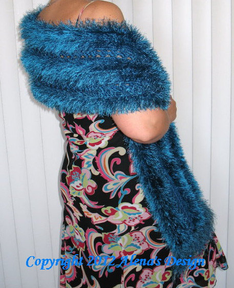 Crochet Scarf Pattern 048  Aquamarine Scarf Women Shawl  Neck Warmer Pattern