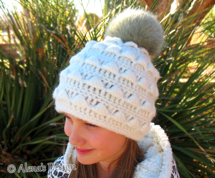 Handmade Faux Fur Pompom Beanie Hat Wool Grey Cream Black Blue Children Adults