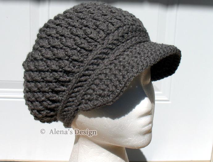 Crochet Newsboy Hat Slouchy Visor Hat Handmade Hat Grey Merlot Pink Black Beige