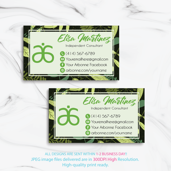 Personalized Arbonne Business Cards, Arbonne Business Card, Arbonne Consultant,