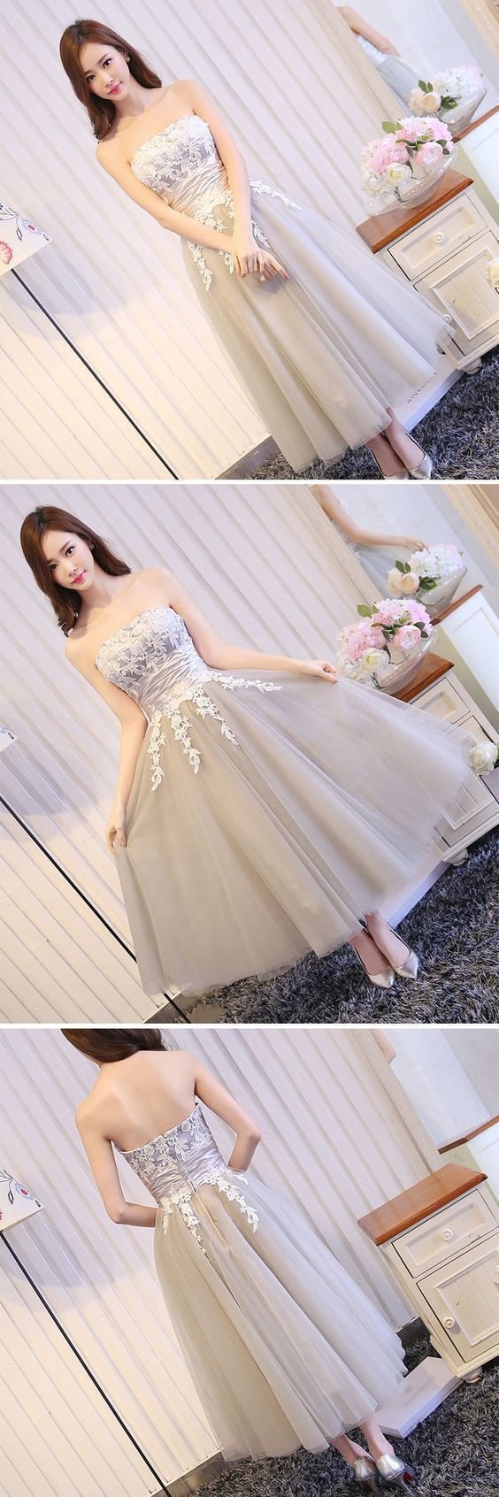 Strapless Tulle Appliques Lace Prom Dress, Elegant Short Homecoming Dress
