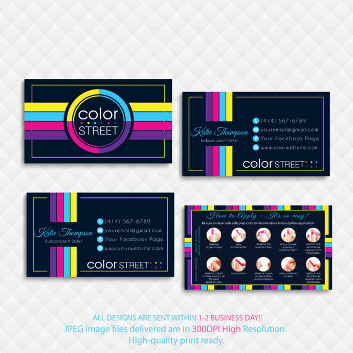 How to Apply Cards, Personalized Color Street Business Card, Color Street