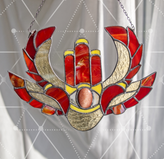 """Wings of Freedom"" Stained Glass Winged Hamsa Talisman with Sunstone"