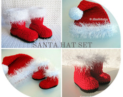 e9121a44438 Crochet PATTERN Set Santa Hat Baby Hat Baby Booties Newborn Toddler Booties  Children Hat Christmas Hat Adult Santa Hat ·  7.99 · AlenasDesign · Zibbet  Logo