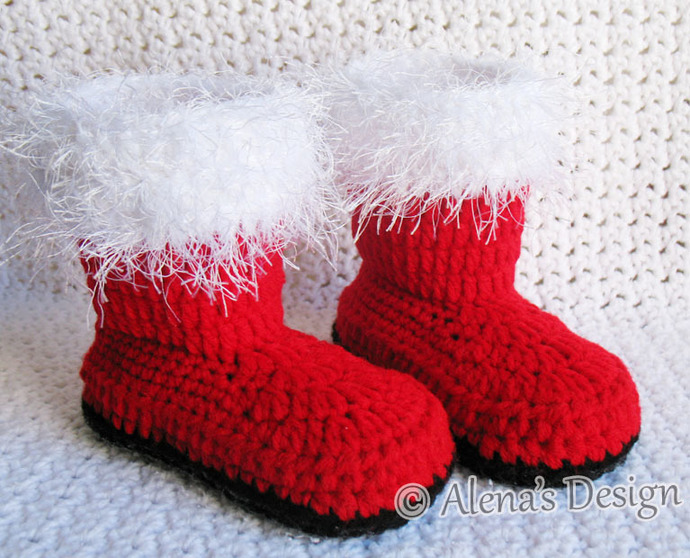 Crochet PATTERN Set  Santa Hat Baby Hat  Baby Booties Newborn Toddler Booties