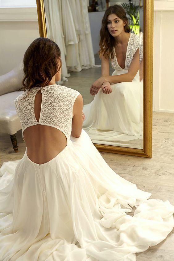 3ca0419cdb12 Sexy Deep V-neck Wedding Dress, Open Back Long Wedding Dresses, Chiffon  Wedding