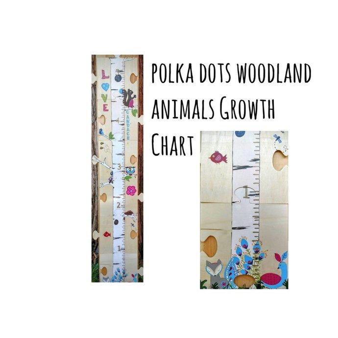 Woodland Animals Polka Dot Growth Chart   Free Shipping