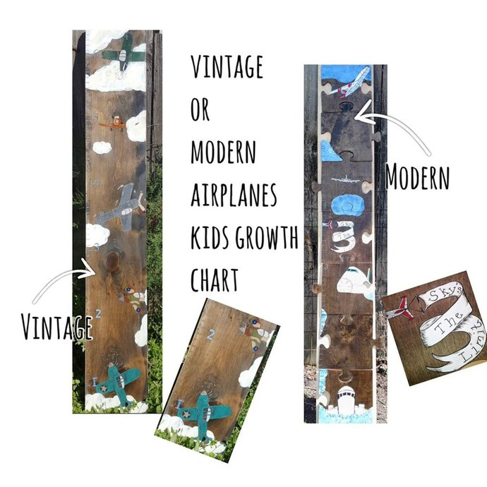 Vintage OR Modern Airplanes Growth Chart | Free Shipping