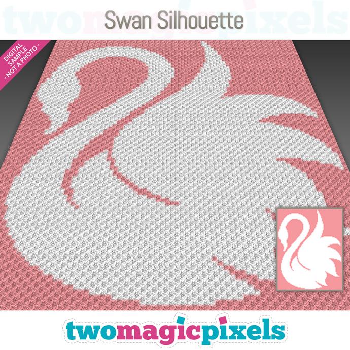 Swan Silhouette crochet graph (C2C, Mini C2C, SC, HDC, DC, TSS), cross stitch,