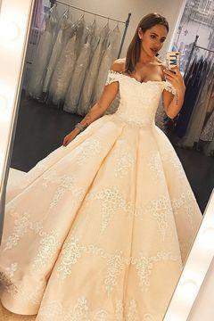 Elegant Appliques Ball Gown Wedding Dress Off the Shoulder Formal Bride Dress