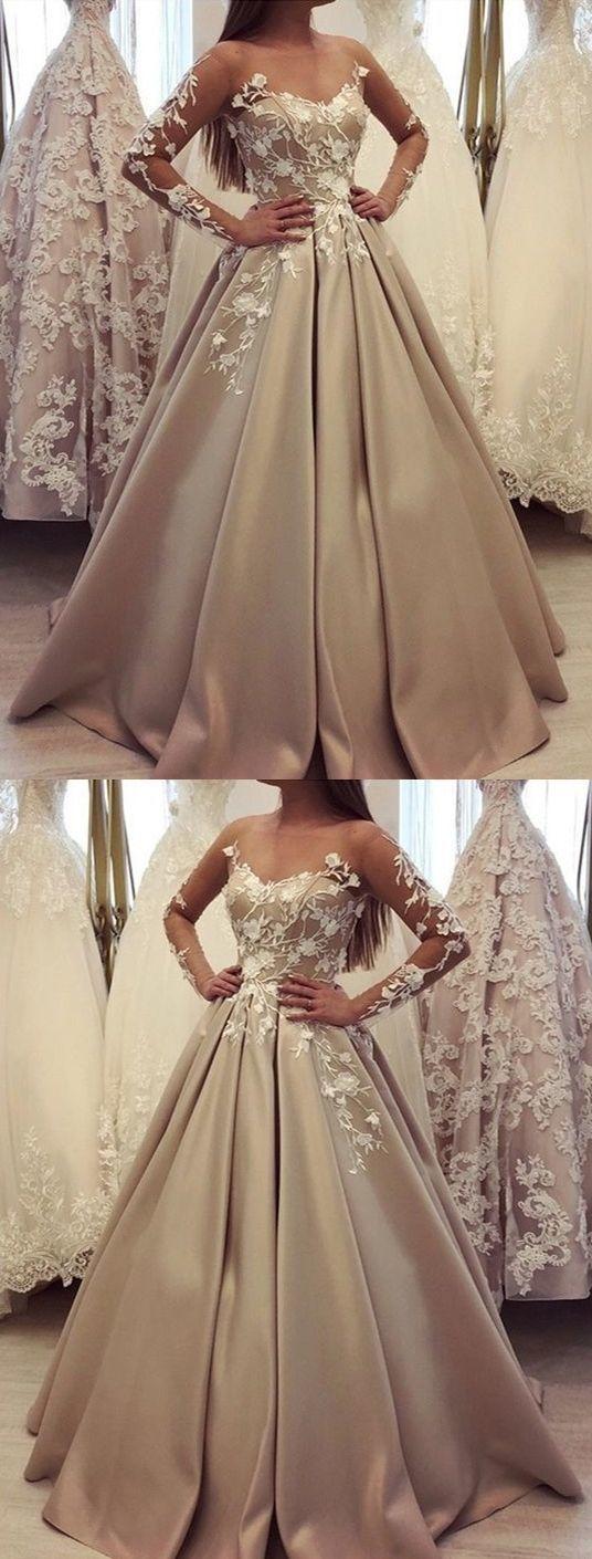 Long Sleeve Appliques Long Evening Dress, Satin Formal Prom Dresses