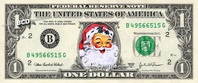 SANTA CLAUS on a REAL Dollar Bill Cash Money Collectible Memorabilia Celebrity